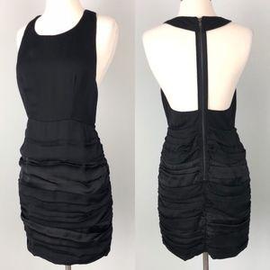 Esley | Cut Out Back Black Dress Ruched Skirt
